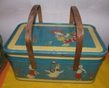 Vintage Metal Picnic Basket Mother Goose Nursery Rhyme 1940s