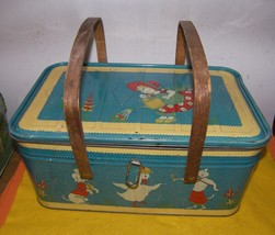 Vintage Metal Picnic Basket Mother Goose Nursery Rhyme 1940s - $200.00