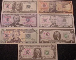 7 - USA Novelty Banknotes - Practice Test Bills - New Mint - USD Small S... - $7.15