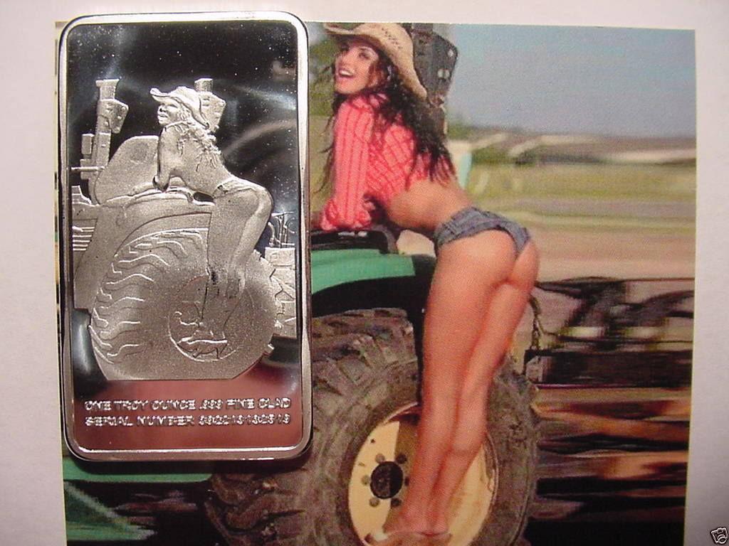 Rare Farm Girl 1oz Silver Clad Encased Medal Art Bar Old