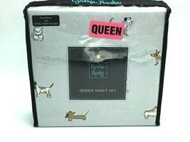 Cynthia Rowley Queen Gray Puppy Dog Bed Sheet Set Dachshund Bulldog Dalm... - $46.99
