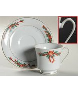 Saucer ONLY - Poinsettia & Ribbons by Fine China of China - $4.95