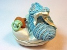 Blue Lullabye Collector Box Baby Shower Gift Pacifier Bootie Just the Ri... - $24.99