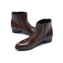 O men brown leather boot side zip leather boot men s boot ad50 thumb200