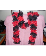 Red and Black Handknit Ruffle scarf - $20.00