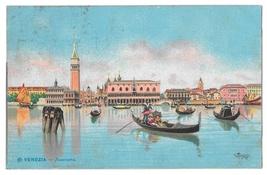 Venice Italy Panorama Gondolas Signed Menegazzi 1908 Squared Circle Post... - $5.69