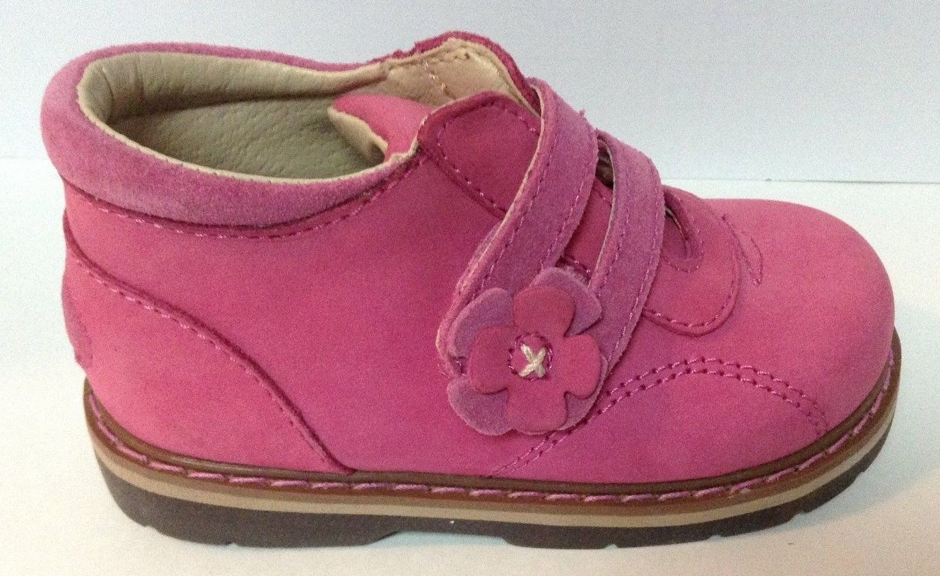 Girls Pink Designer Touch Leather Boots Velcro NEW Size 6 NIB