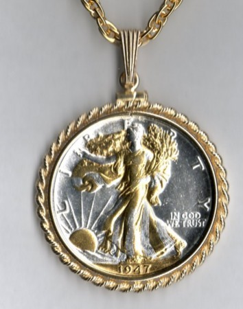 U.S. Walking Liberty Gold on Silver coin pendant & 14k necklace