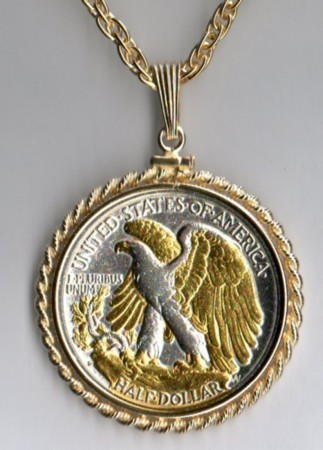 U.S. Walking/Liberty half  Gold on Silver coin pendant necklace