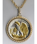 U.S. Walking/Liberty half  Gold on Silver coin pendant necklace - $227.00