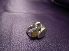 Mid Century Modern Silver Tone and Gold Tone Ring Circles Design Costume... - $24.75