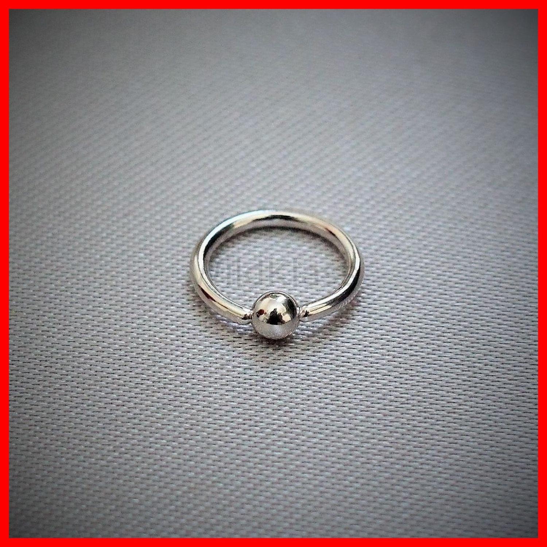 14k white gold 16g captive bead solid gold septum ring