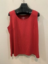 Woman Within Red Tank 100% Cotton 1X Sleeveless Side Slits - $24.86