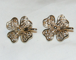 Vintage 1970's Gold Tone Sarah Coventry FILIGREE CLOVER 4-Leaf Earrings M3 - $9.99