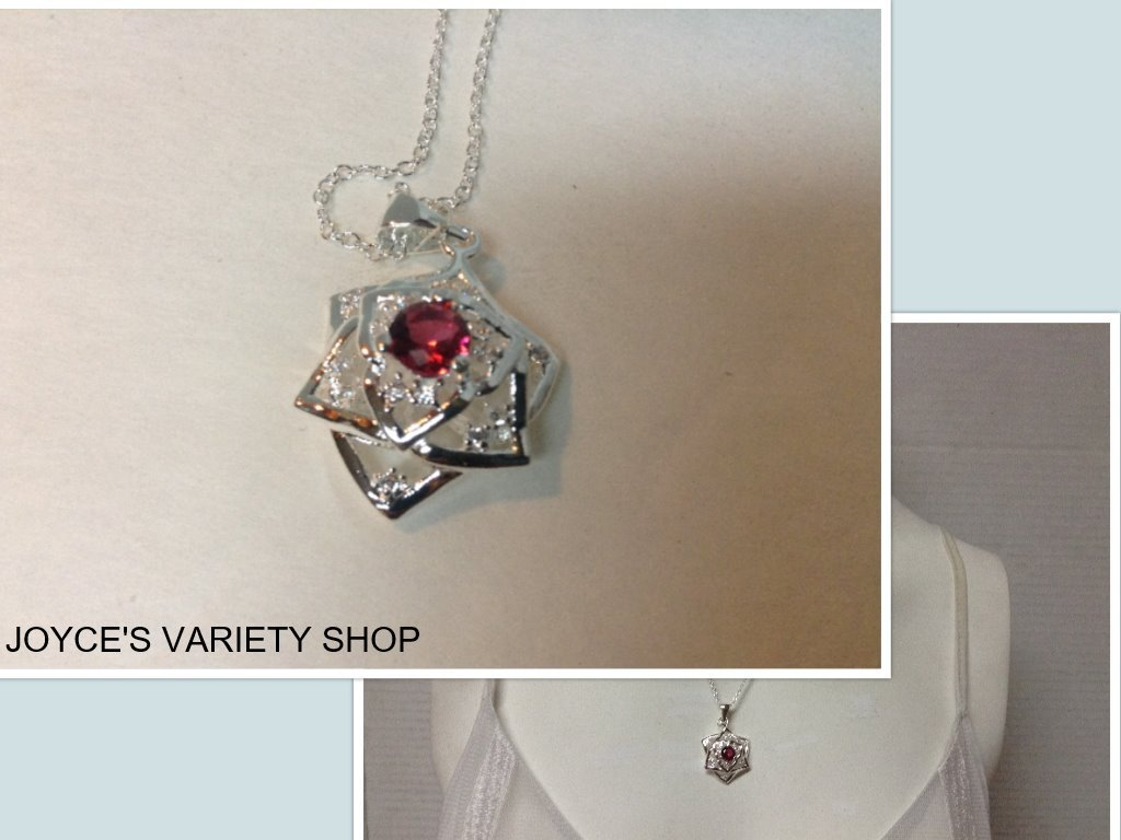 Red pendant necklace collage sterling silver