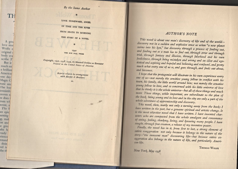 The Web And The Rock by Thomas Wolfe - 1940