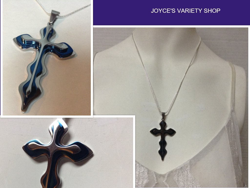 Blue cross necklace collage