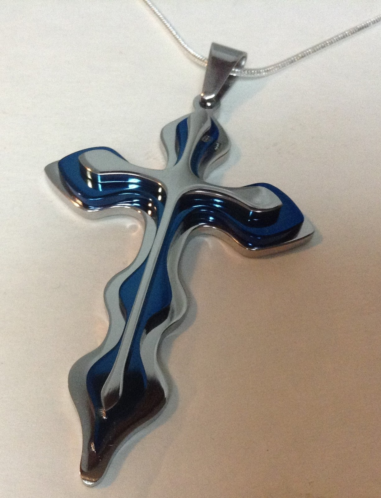 """Sterling Silver Necklace 925 Stamped Stainless Steel Blue Cross 18"""" NEW"""
