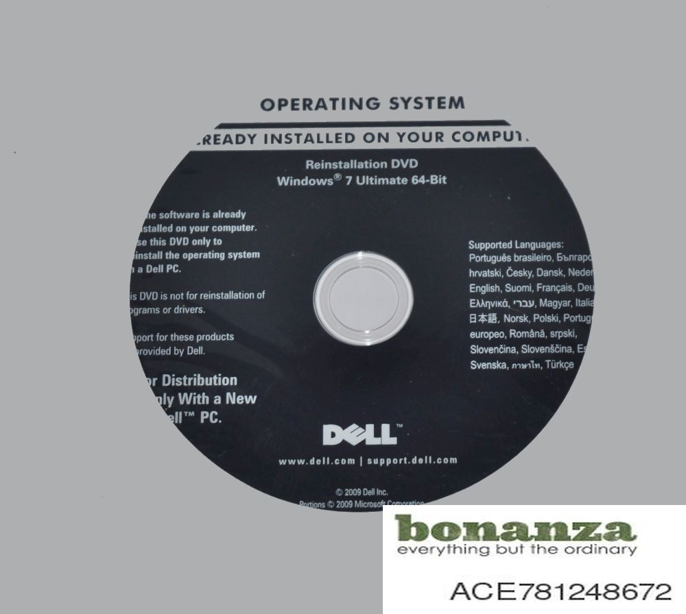 Windows 7 Ultimate 64-Bit Recovery Restore Re-Installation Disc DVD