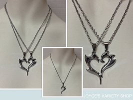 Two Hearts Necklace NEW Chain Black Accents Silver Plated - $9.99