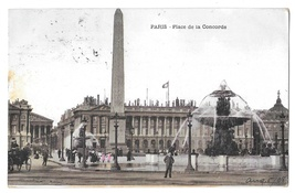 France Paris Place de Concorde Fountain Pillar Obelisk 1908 Vintage Post... - $4.99