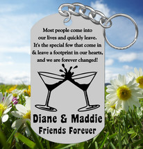BEST FRIENDS Keychain Gift, Personalized FREE with Names! Martini Glasses - $9.95