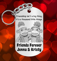 BEST FRIENDS Keychain Gift, Personalized FREE with Names! Sock Monkeys - $9.95