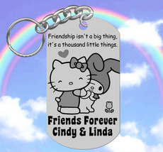 BEST FRIENDS Keychain Gift, Personalized FREE with Names! Hello Kitty an... - $9.95