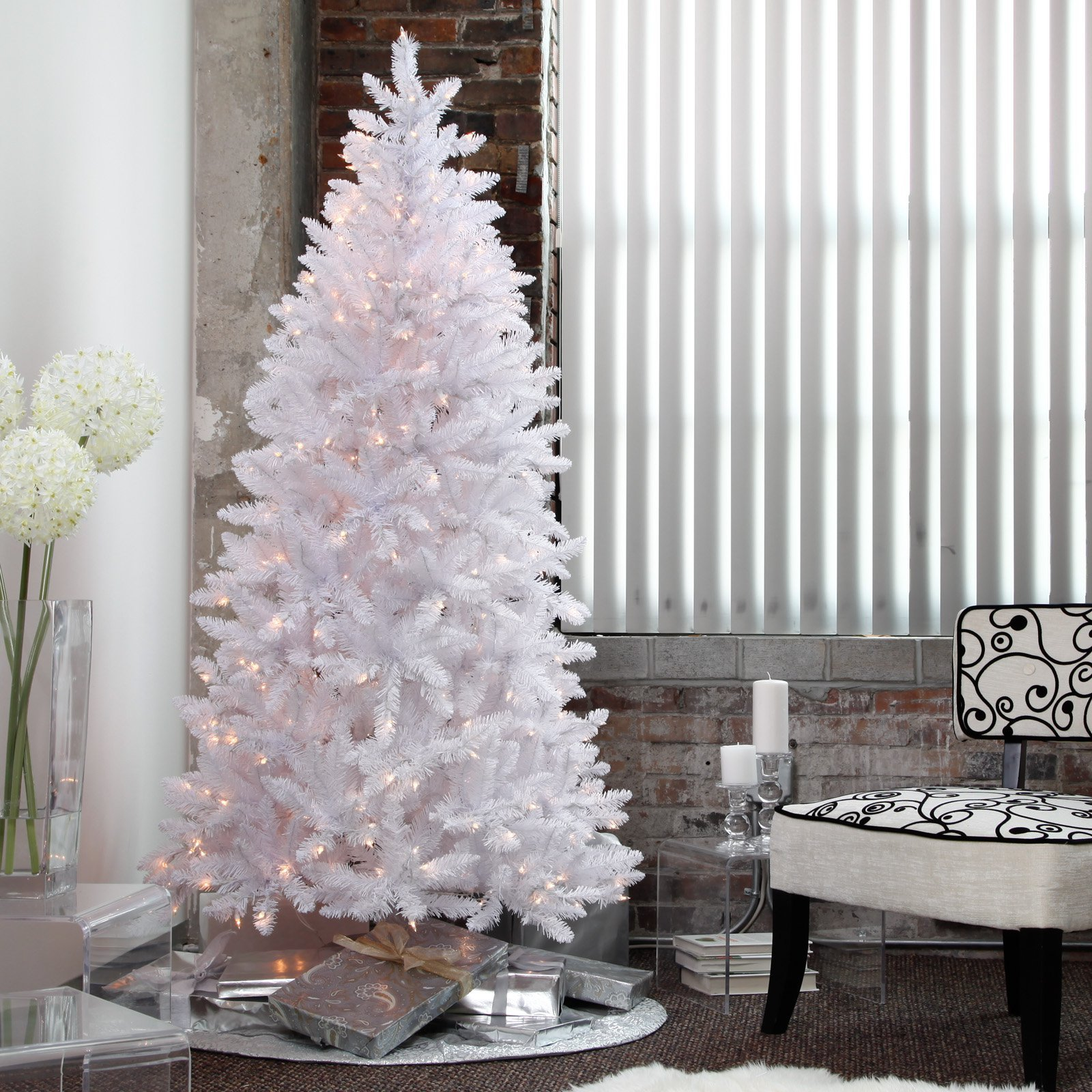 White Christmas Tree Pre-Lit 7.5 Ft. Artificial Holiday ...