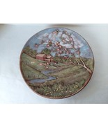 "Ceramic Wall Plaque Farm House  Scene Barn Apple Blossom Blue Birds 13"" ... - $22.27"