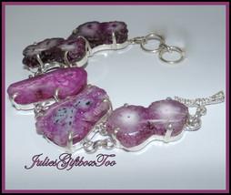 Pinks To Purples Solar Quartz Silver Plated Prong Set Adjustable Bracele... - $29.00