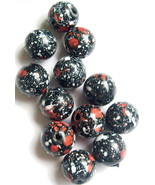 Beads Reclaimed 12mm 12 pcs Black White Orange Tri-tone Acrylic - $1.75