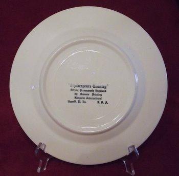 Homer Laughlin Shakespeare Country Dinner Plate Blue White Scroll Cottage Horse