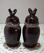 Vintage Brown Drip Glaze Chicken Range Salt & P... - $16.00