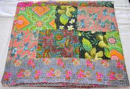 Handmade Kantha Stitch & Patchwork Cotton Quilt, Bedspread. X999 - £49.63 GBP
