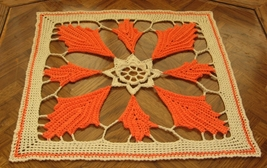 Fall Orange Leaf Square Mat - Handmade Decor Ac... - $27.00