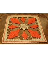 Fall Orange Leaf Square Mat - Handmade Decor Accent by RSS Designs In Fiber - $27.00