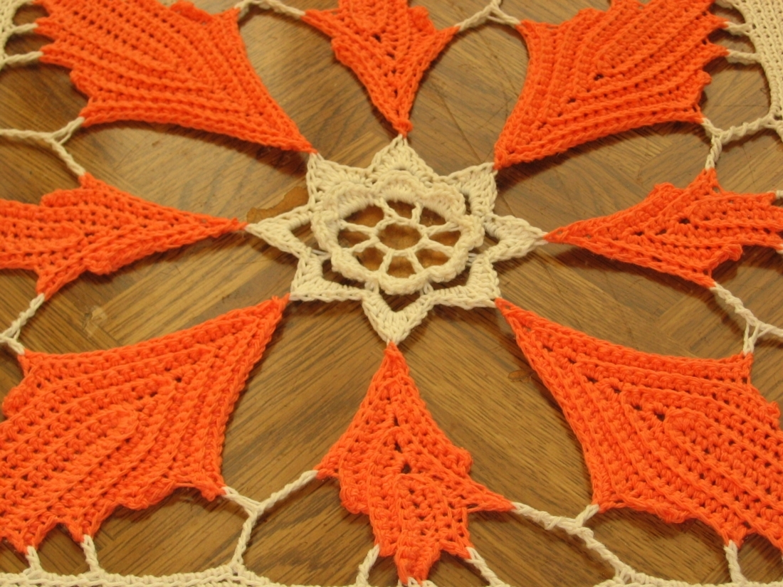 Fall Orange Leaf Square Mat - Handmade Decor Accent by RSS Designs In Fiber
