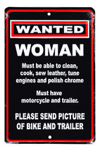 Motorcycle Parking Sign (Woman Wanted) - $13.14