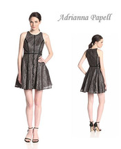 Adrianna Papell Brown Banded Lace Fit & Flair Cocktail Dress Career Dinner 12 - $46.52
