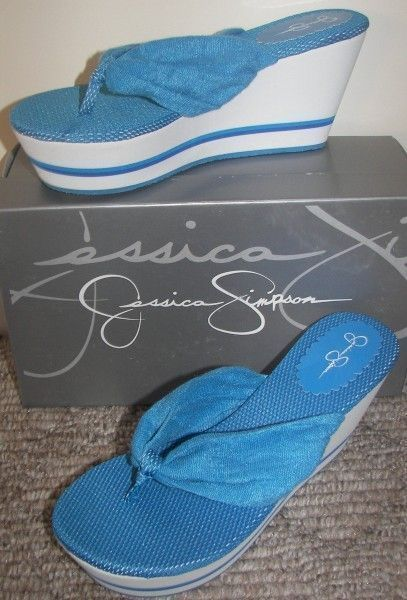 Jessica Simpson Blue Sandals Shoes Thongs Wedges size 8 Steve Madden