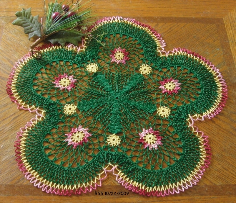 Red Garnet Flowers in Evergreen - Crochet Decor Accent by RSS Designs In Fiber