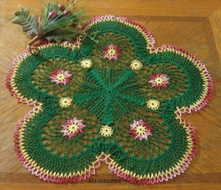 Red Garnet Flowers in Evergreen - Crochet Decor... - $33.50