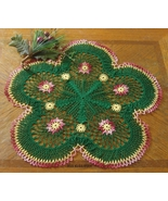 Red Garnet Flowers in Evergreen - Crochet Decor Accent by RSS Designs In... - $33.50