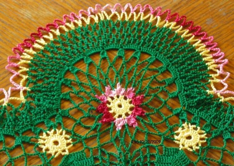 Red Garnet Flowers in Evergreen - Crochet Decor Accent by RSS Designs In Fiber