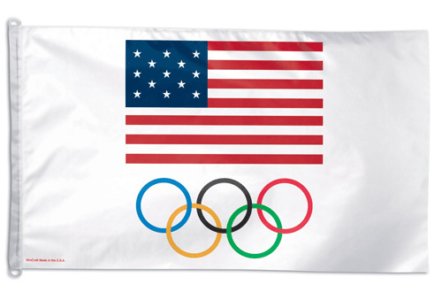 US Olympic Team - 3'X5' Polyester Flag (USA with Rings)