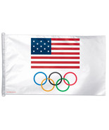 US Olympic Team - 3'X5' Polyester Flag (USA with Rings) - $39.54