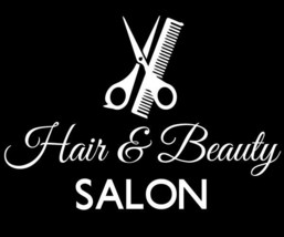 """Hair and Beauty Salon Sign Vinyl Decal Business Window Sticker Cosmetology 10.5"""" - $13.75"""