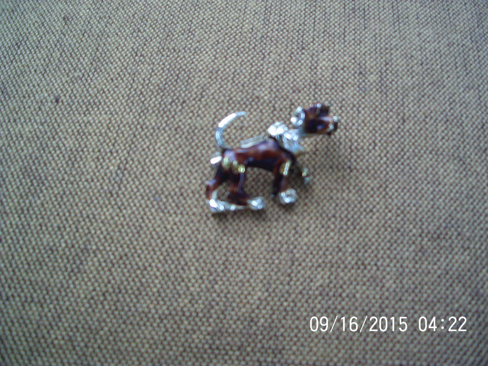 Dog Brooch with Moving Head , Silver , Brown -w- Gold Spots