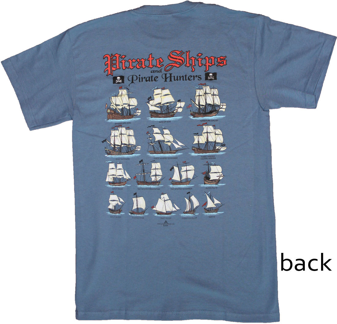 Pirate Ships and Pirate Hunters Blue Cotton T-Shirt (S)